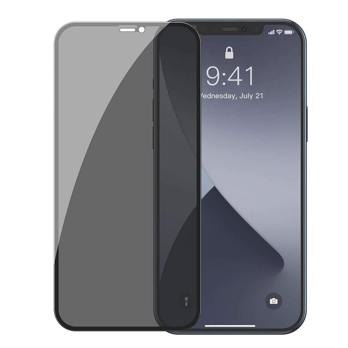 Baseus iPhone 12 Pro Max 0.3 mm, teljes felületre, lekerekített edzett üveg, betekintés védelem (2db), fekete (SGAPIPH67N-TG01)