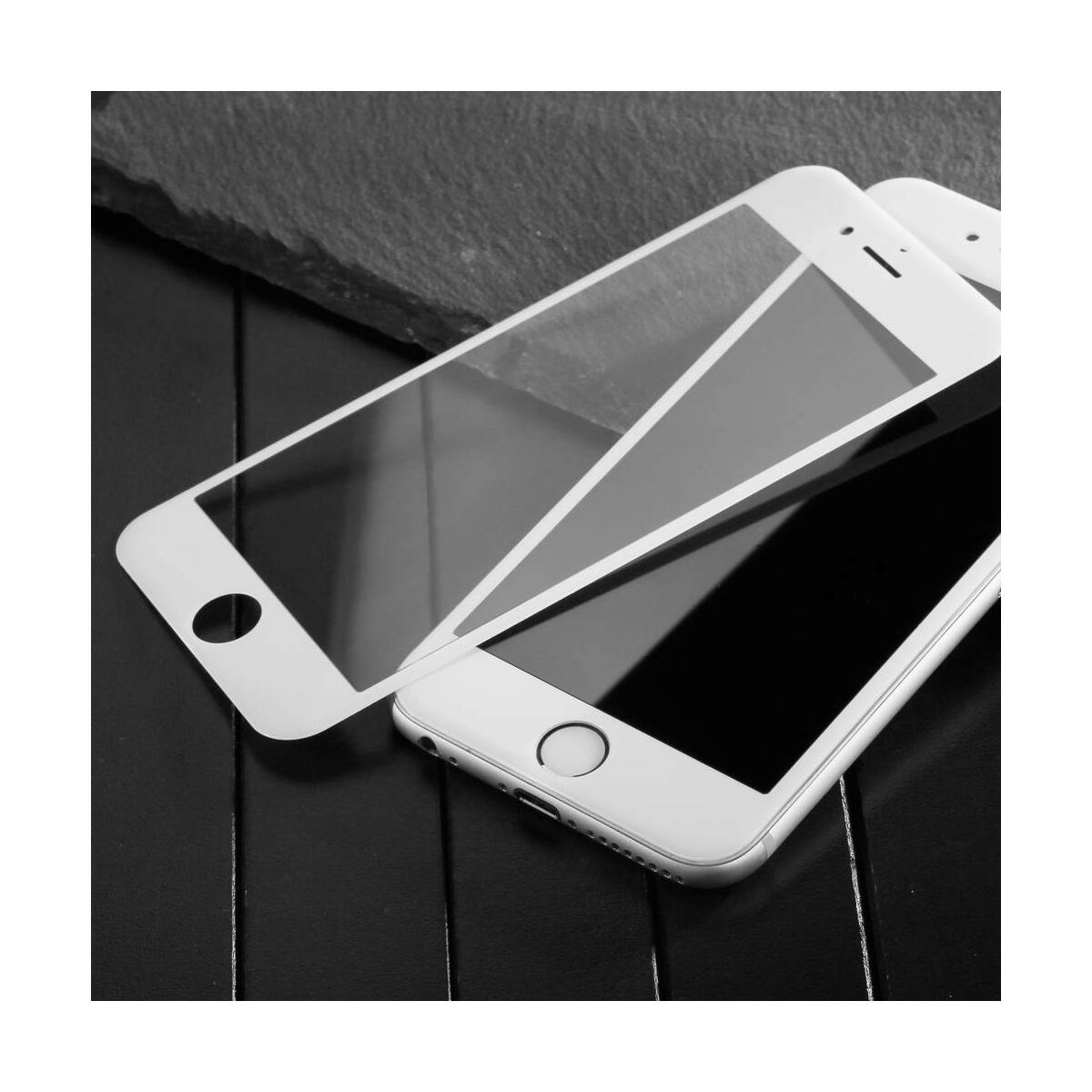 Baseus iPhone 6/6s Plus 0.23 mm, teljes felületre, Anti-break lekerekített edzett üveg kijelzővédő fólia, fekete (SGAPIPH6SP-DE01)