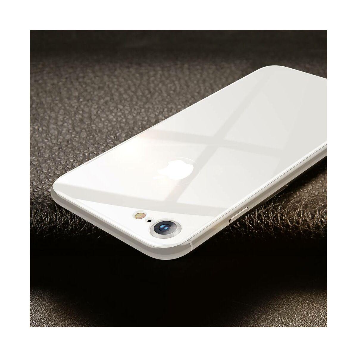 Baseus iPhone 8/7 0.3 mm, teljes lefedésre hátlap edzett üveg fólia, ezüst (SGAPIPH8N-4D0S)