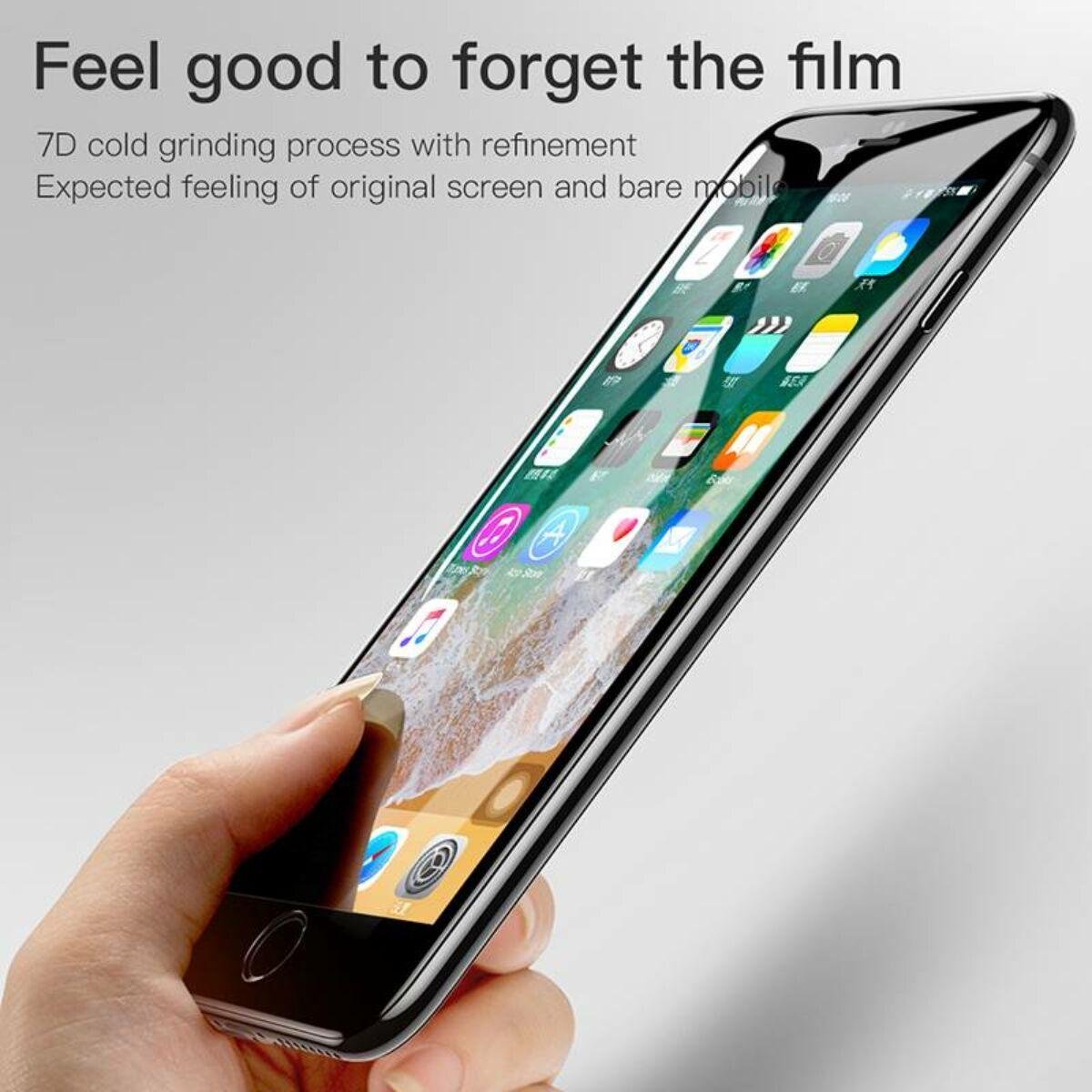 Baseus iPhone 8/7 0.3 mm, teljes felületre, lekerekített, Diamond Body edzett üveg kijelzővédő fólia, fekete (SGAPIPH8N-AJG01)