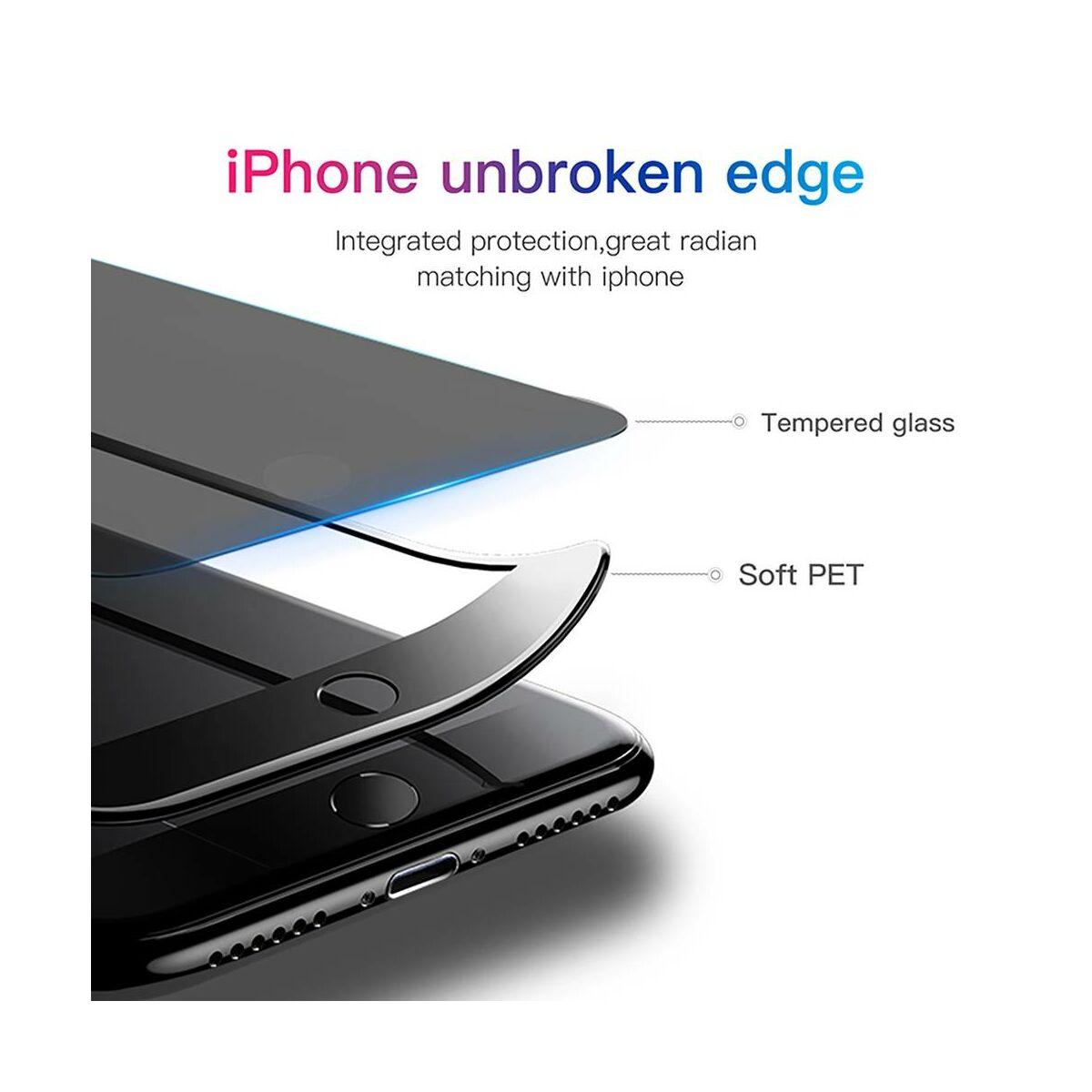 Baseus iPhone 8/7 0.23 mm, teljes felületre edzett üveg, törésálló élek, betekintés védelemmel, fekete (SGAPIPH8N-ATG01)