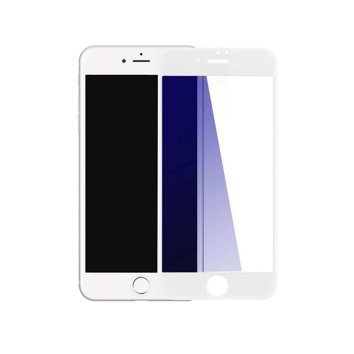 Baseus iPhone 8/7 0.23 mm, teljes felületre erősített kékfény szűrős edzett üveg kijelzővédő fólia, fehér (SGAPIPH8N-TES02)