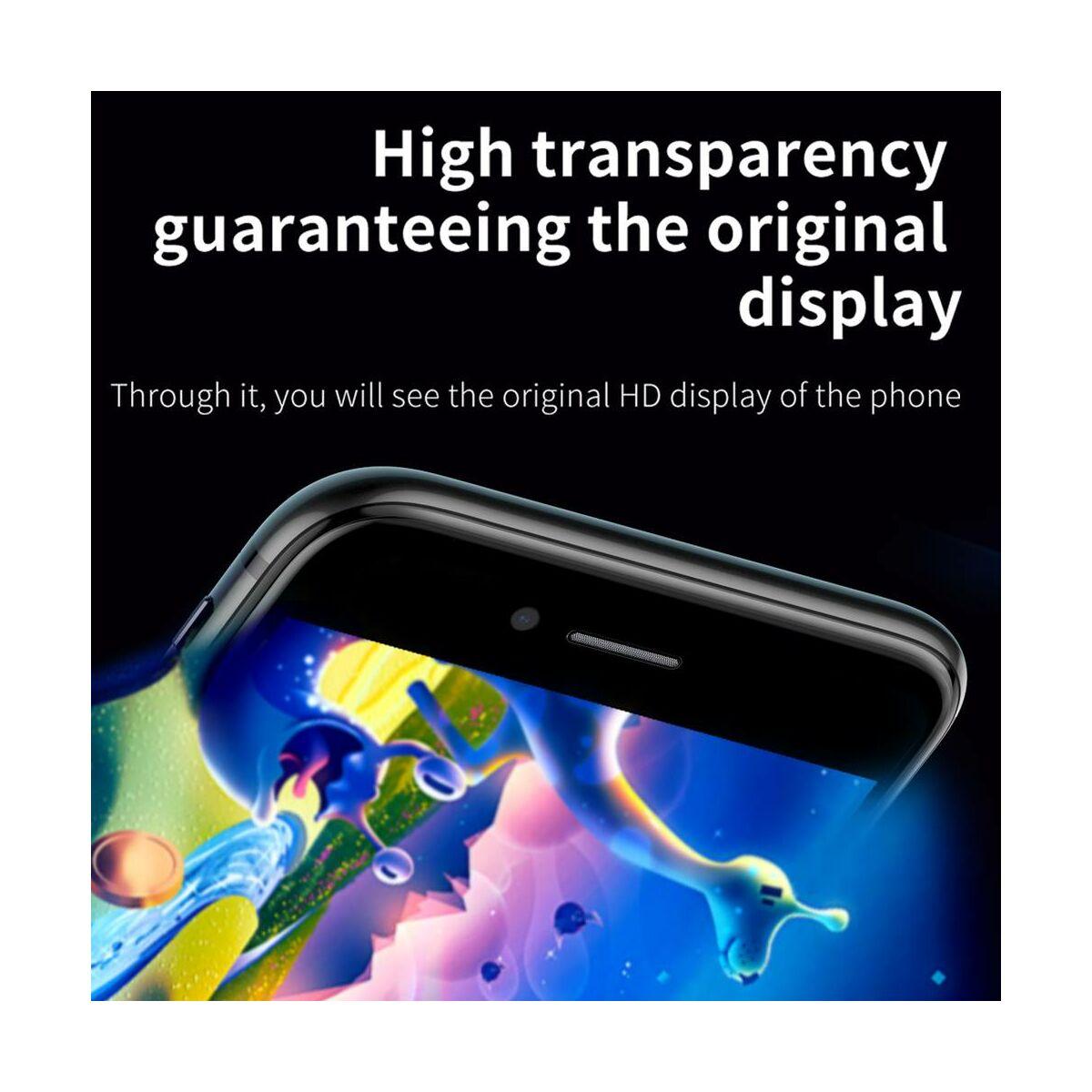Baseus iPhone 8/7 Plus 0.23 mm, teljes felületre edzett üveg, törésálló élek, kékfény szűrős, fekete (SGAPIPH8P-HPE01)