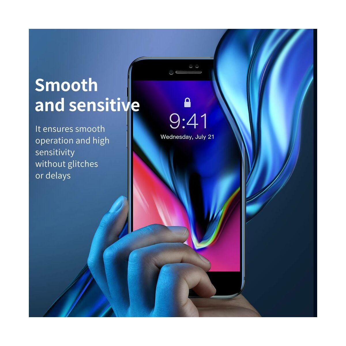 Baseus iPhone 8/7 Plus 0.23 mm, teljes felületre edzett üveg, törésálló élek, kékfény szűrős, fehér (SGAPIPH8P-HPE02)