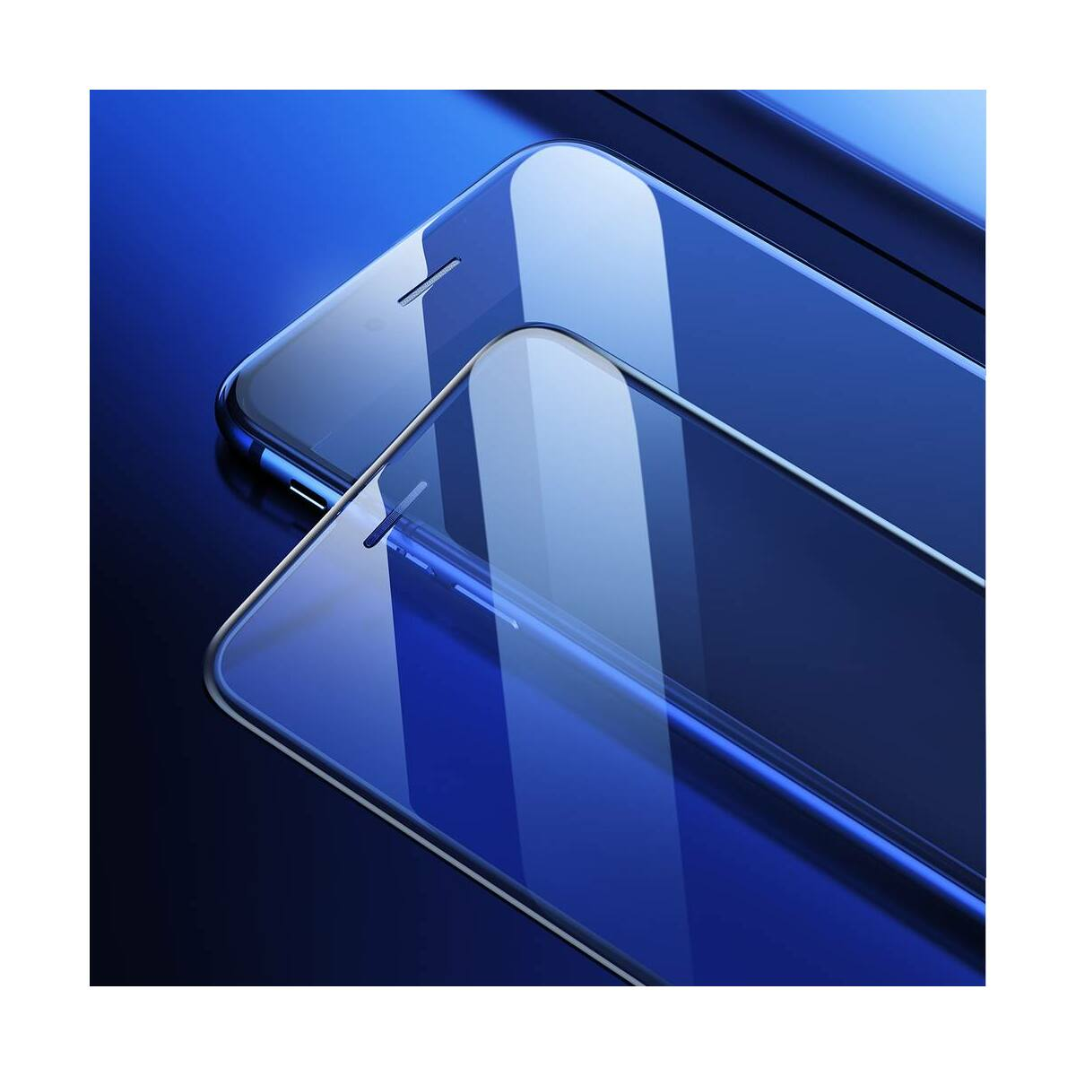 Baseus iPhone 8/7/6 Plus 0.23 mm, teljes felületre, kékfény szűrős,lekerekített edzett üveg por elleni védelem, fekete (SGAPIPH8P-WB01)