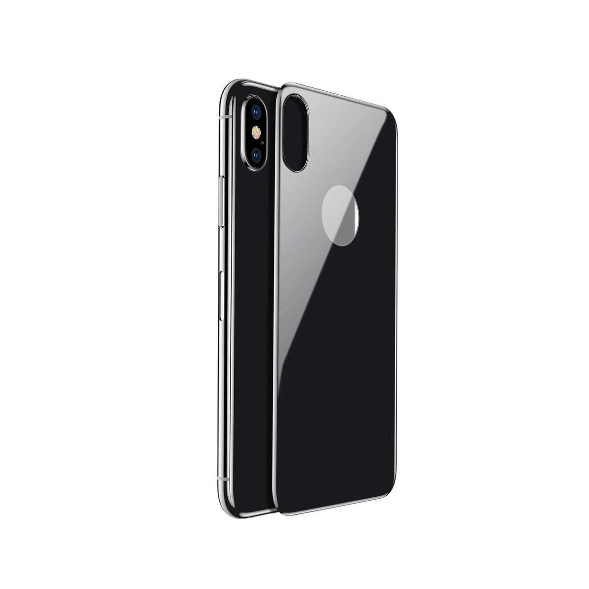 """Baseus iPhone X/XS (5.8"""") 0.3 mm, teljes lefedésre hátlap edzett üveg fólia, asztro szürke (SGAPIPHX-4D0G)"""