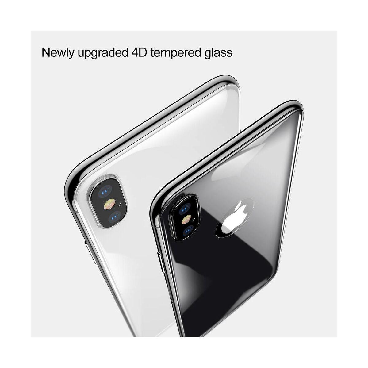 """Baseus iPhone X/XS (5.8"""") 0.3 mm, teljes lefedésre hátlap edzett üveg fólia, ezüst (SGAPIPHX-4D0S)"""