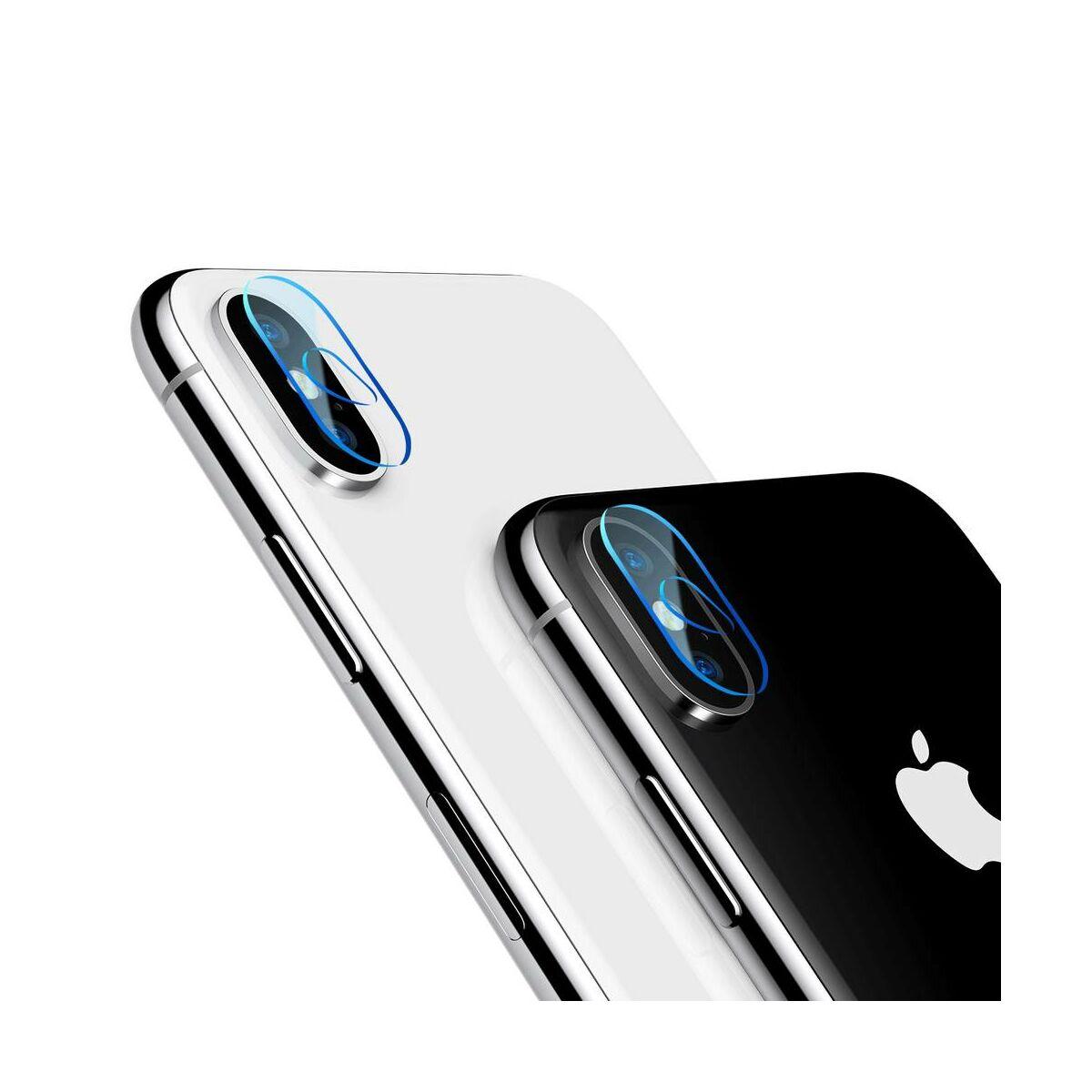Baseus iPhone X/XS kamera lencse üveg fólia 0.2 mm, átlátszó (SGAPIPHX-AJT02)