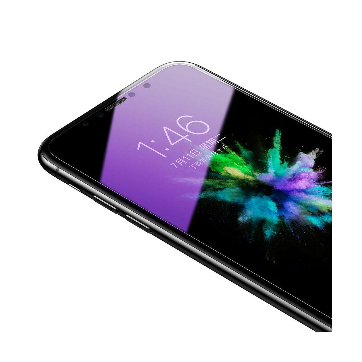 """Baseus iPhone X/XS (5.8"""") 0.3 mm, kékfény szűrős edzett üveg kijelzővédő fólia, átlátszó (SGAPIPHX-FSB02)"""