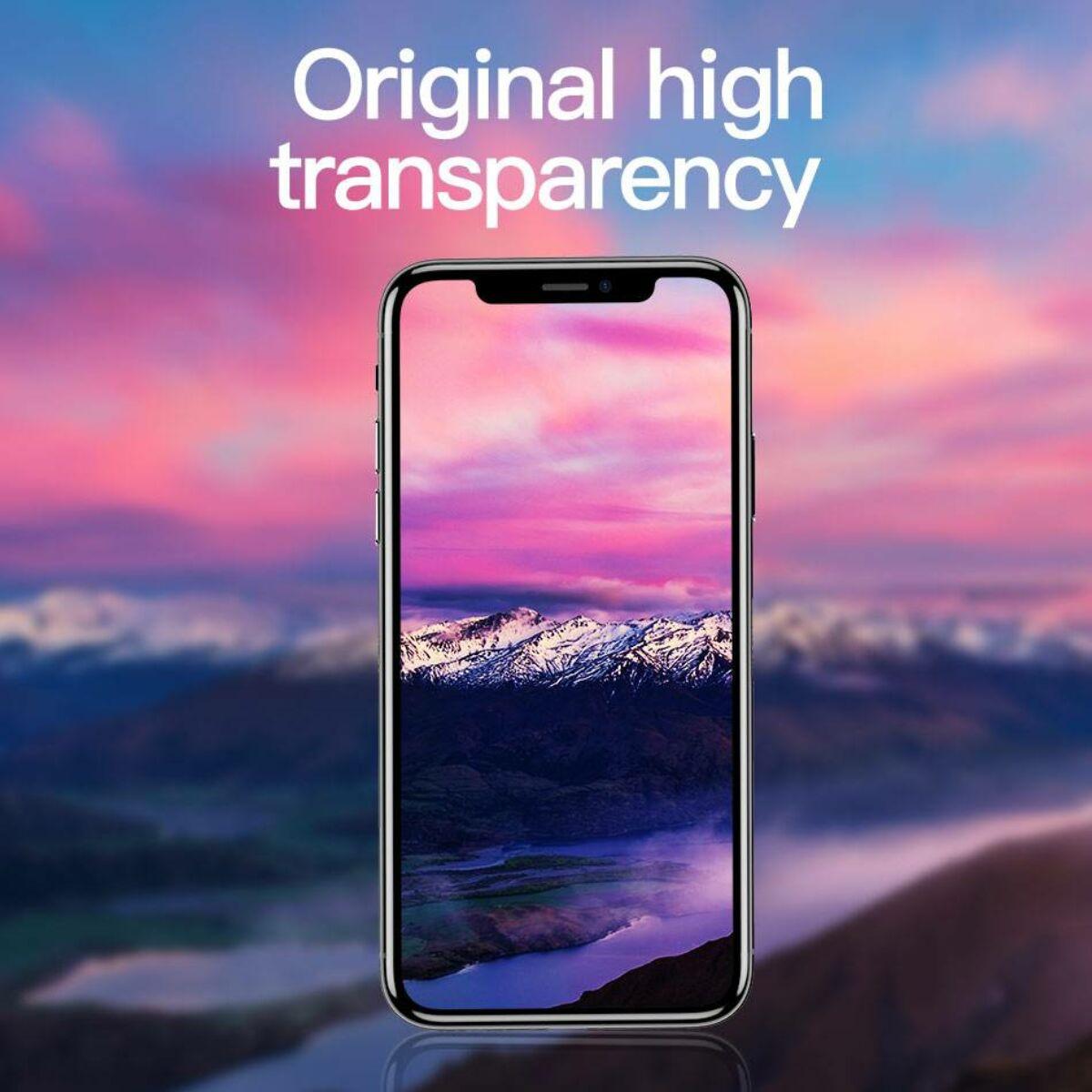 """Baseus iPhone X/XS (5.8"""") 0.2 mm, teljes felületre kékfény szűrős edzett üveg kijelzővédő fólia, fekete (SGAPIPHX-HEB01)"""
