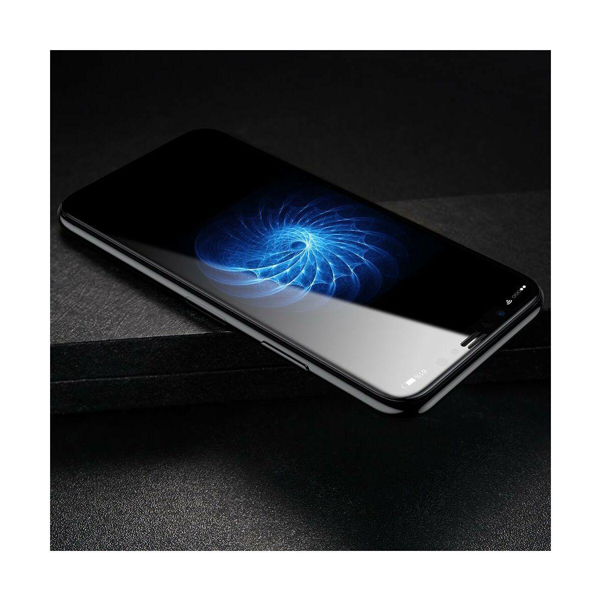 """Baseus iPhone X/XS (5.8"""") 0.23 mm, teljes felületre, repedésálló Anti-spy edzett üveg kijelzővédő fólia, fekete (SGAPIPHX-TG01)"""