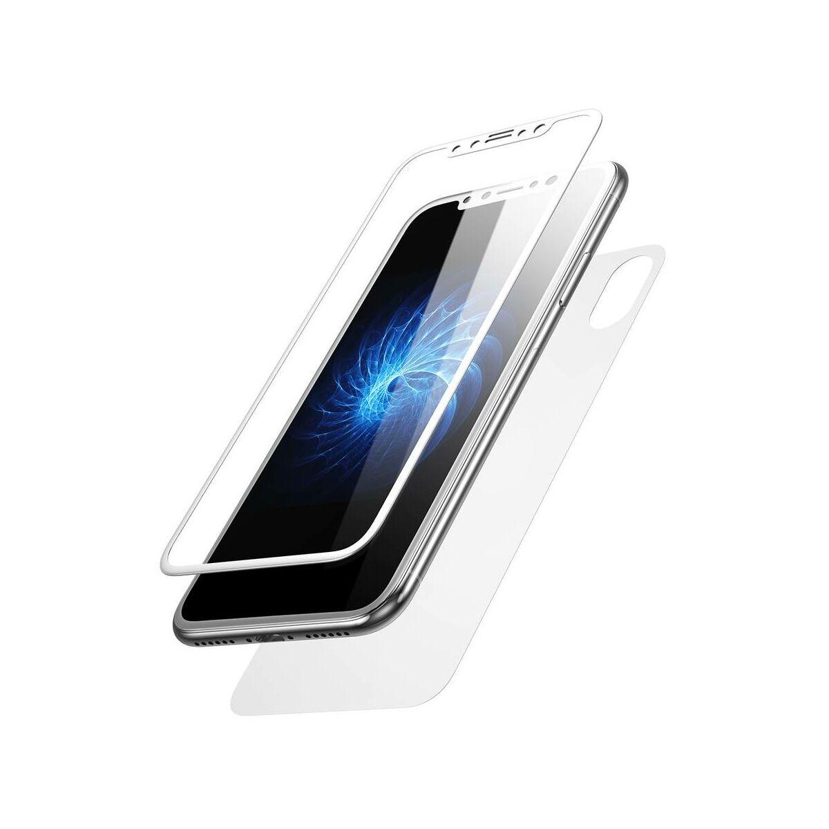 """Baseus iPhone X/XS (5.8"""") 0.3 mm, Üveg fólia szett (előlap + hátlap), fehér (SGAPIPHX-TZA2)"""