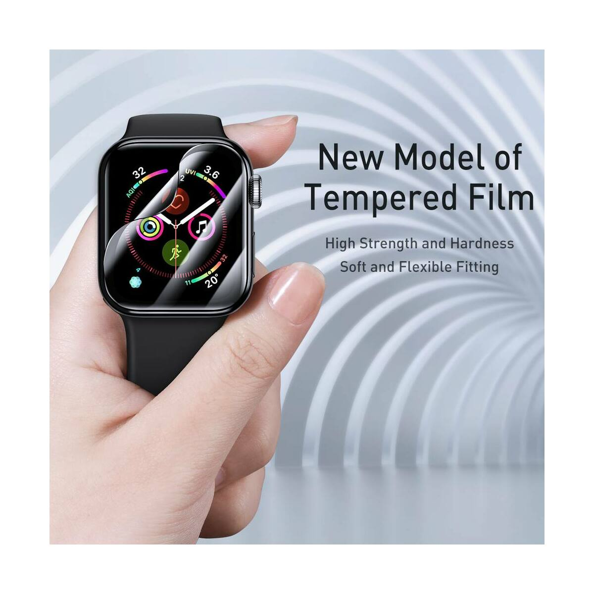 Baseus iWatch 0.2 mm, teljes felületre, ívelt szélek, edzett üveg, 44 mm, fekete (SGAPWA4-H01)