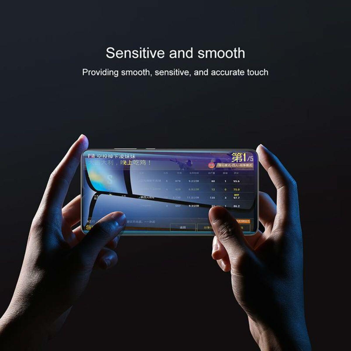 Baseus Huawei Mate 20 0.3 mm, Teljes felületre kékfény szűrős edzett üveg kijelzővédő fólia, fekete (SGHWMATE20-KB01)