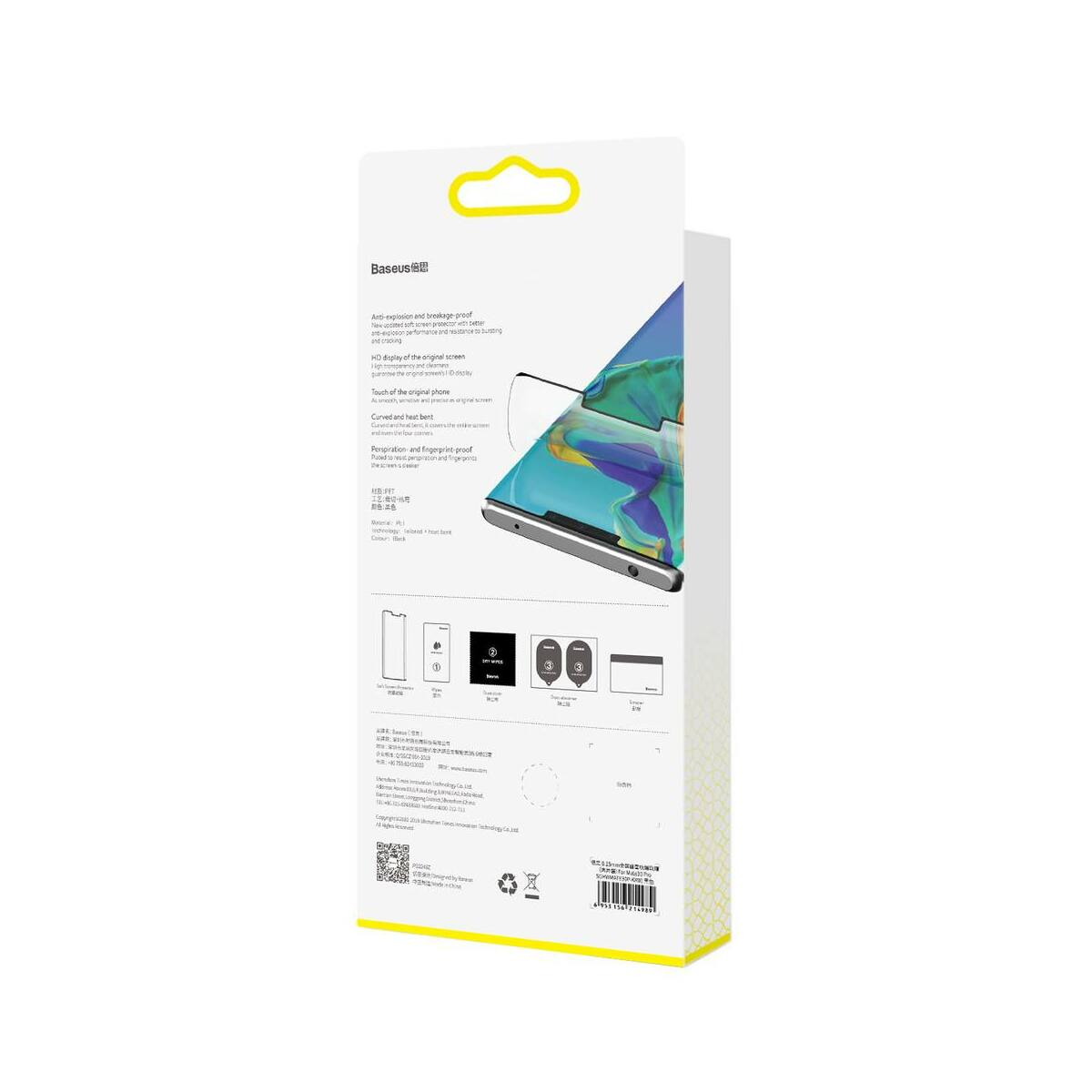 Baseus Huawei Mate 30 0.15 mm, teljes felületre, ívelt betörés elleni könnyített kijelzővédő, fekete (SGHWMATE30P-KR01)