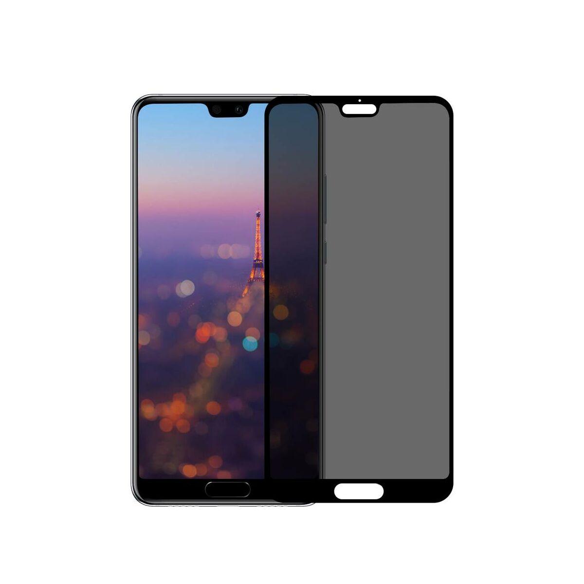 Baseus Huawei P20 0.3 mm, Anti-spy edzett üveg kijelzővédő fólia, fekete (SGHWP20-TG01)
