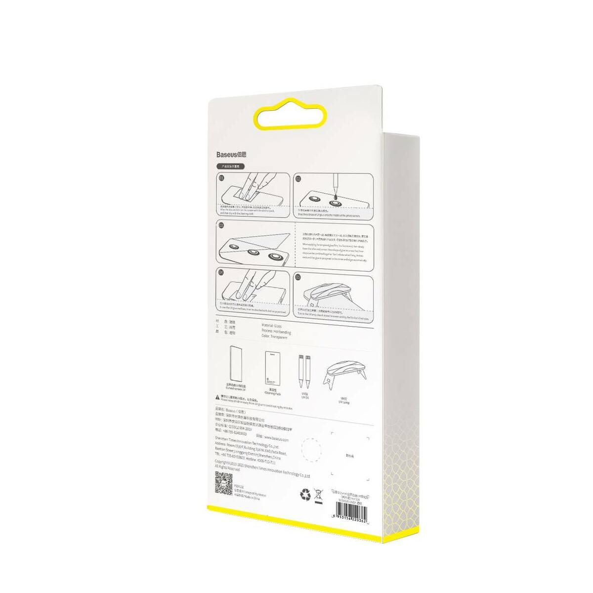 Baseus Samsung S20 0.25 mm ívelt kijelzőre, UV védelem, edzett üveg, (2db/csomag) átlátszó (SGSAS20-UV02)