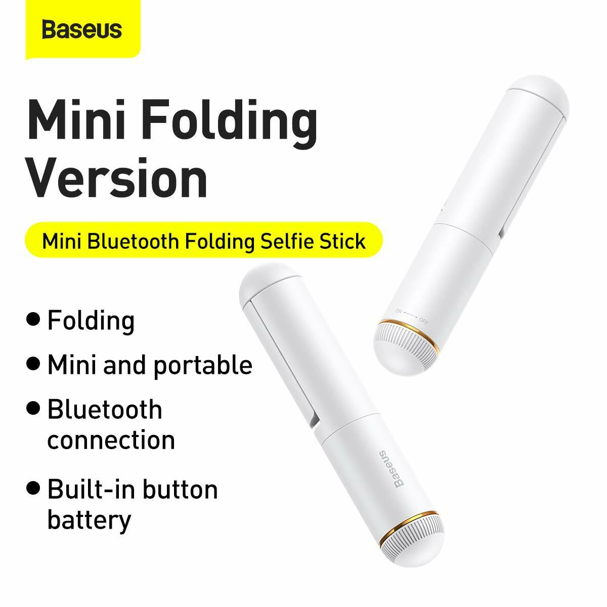 Baseus Video kiegészítő, Ultra Mini Bluetooth Folding Selfie bot, fehér (SUDYZP-G02)