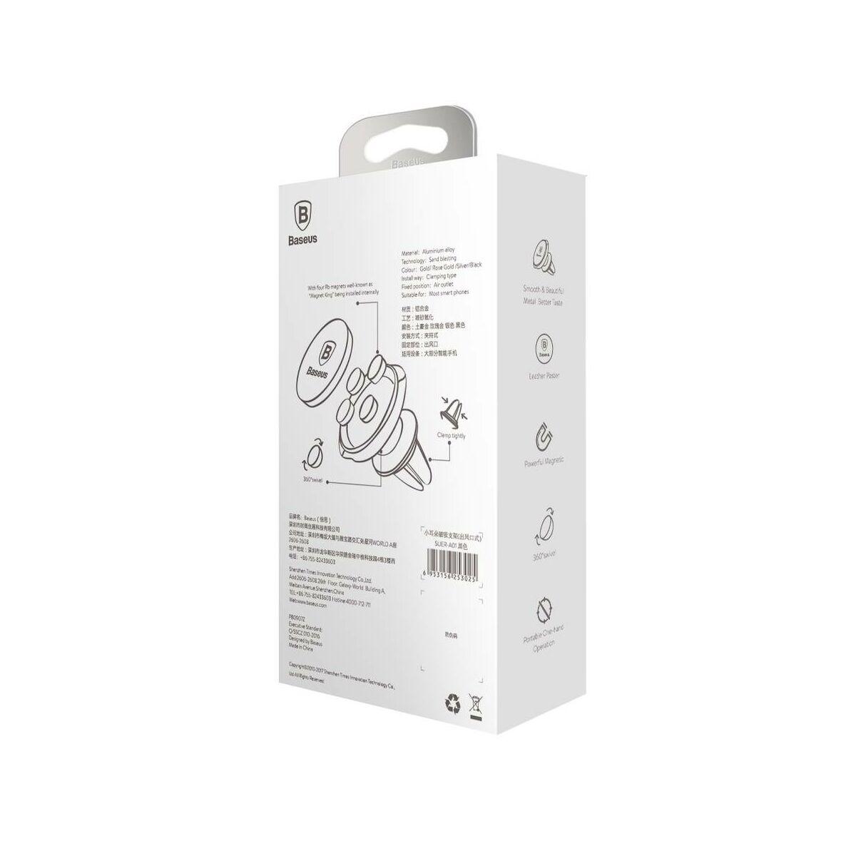 Baseus autós telefon tartó, Small Ears series mágneses, szellőzőrácsra, ezüst (SUER-A0S)