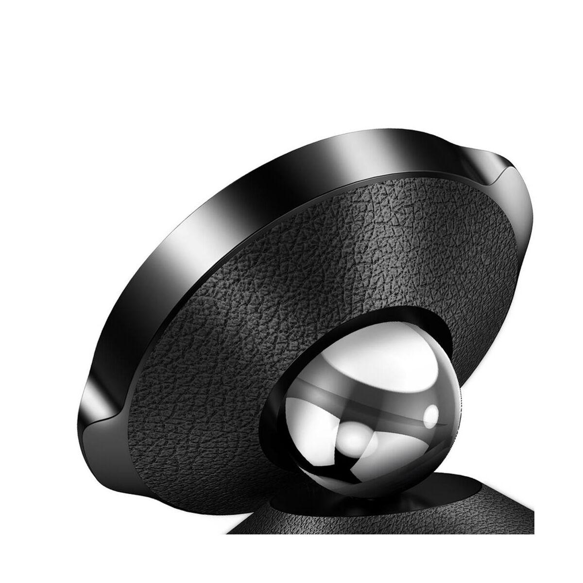 Baseus autós telefontartó, Small Ears Series mágneses, szellőzőrácsra, bőr felület, fekete (SUER-E01)