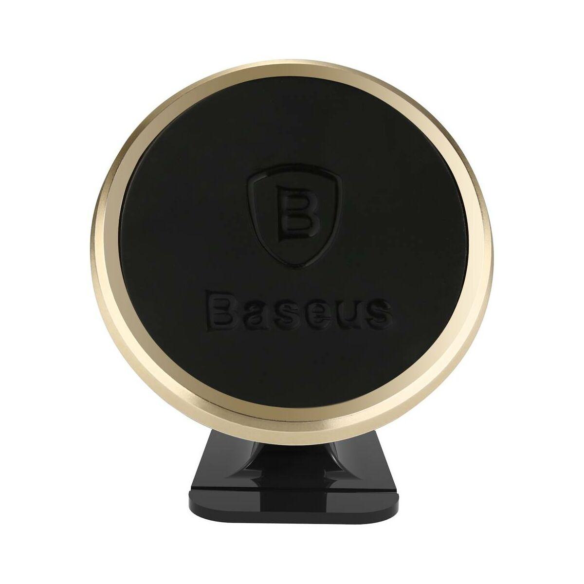 Baseus autós telefontartó, 360 fokban forgatható, mágneses, arany (SUGENT-NT0V)
