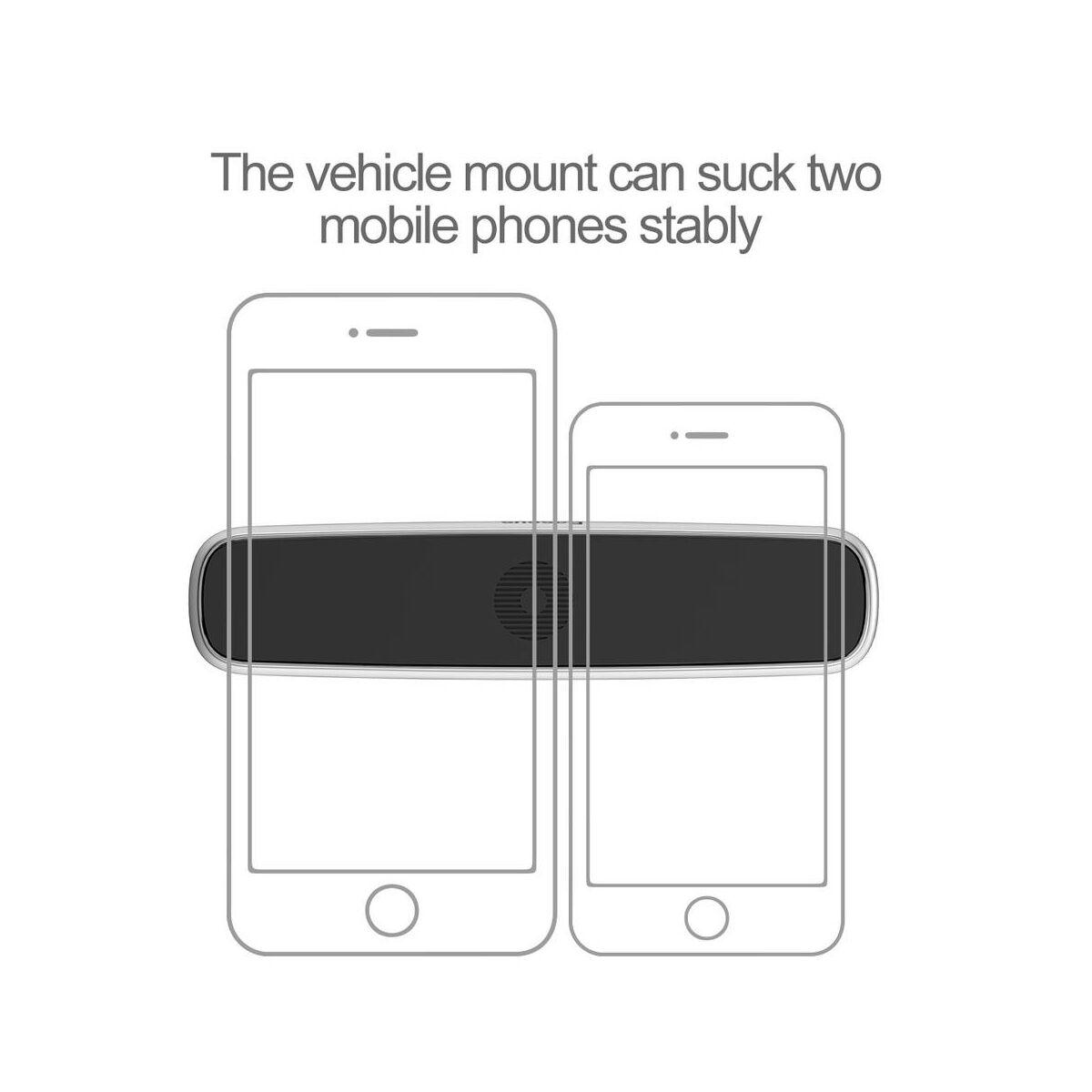 Baseus autós telefontartó, Double Clip univerzális mágneses, szélesebb kivitel, ezüst (SUHS-DP0S)
