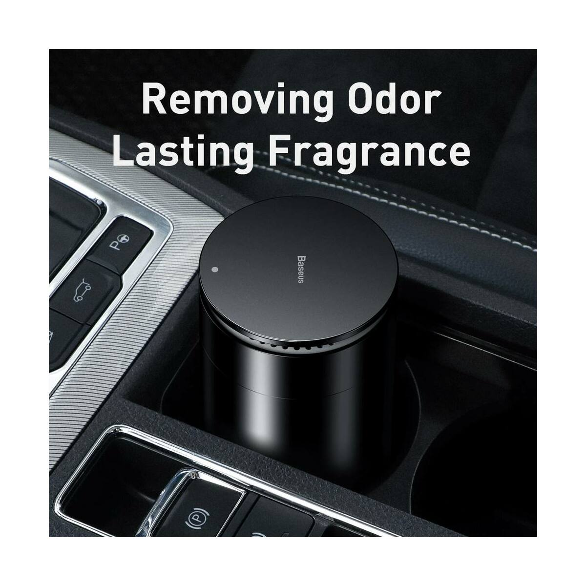 Baseus autós kiegészítő, Minimalist pohártartóba való légfrissítő, Oceán illattal (Formaldehydes tisztító funkció), fekete (SUXUN-CE01)