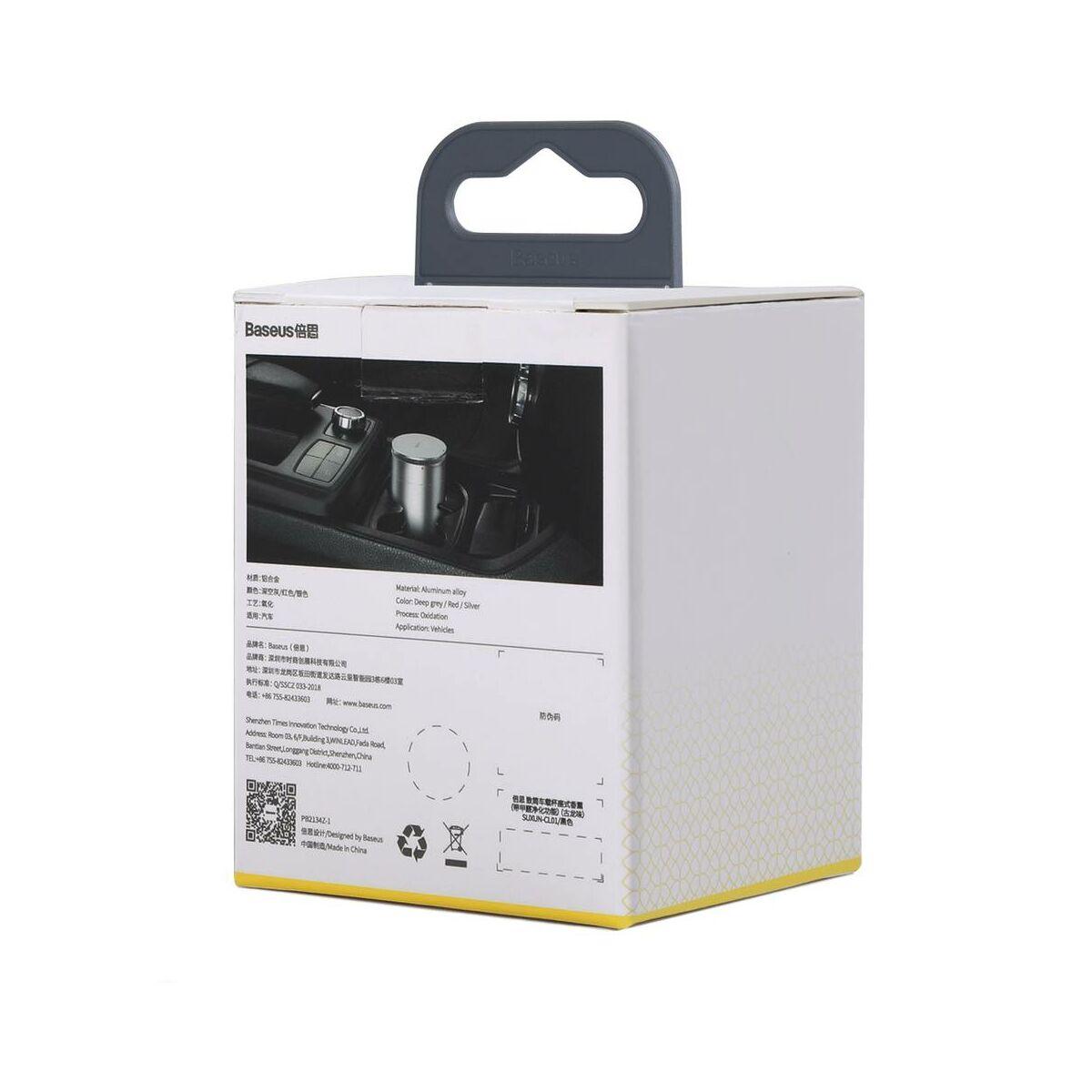 Baseus autós kiegészítő, Minimalist pohártartóba való légfrissítő, Ocean illattal (Formaldehydes tisztító funkció), ezüst (SUXUN-CE0S)