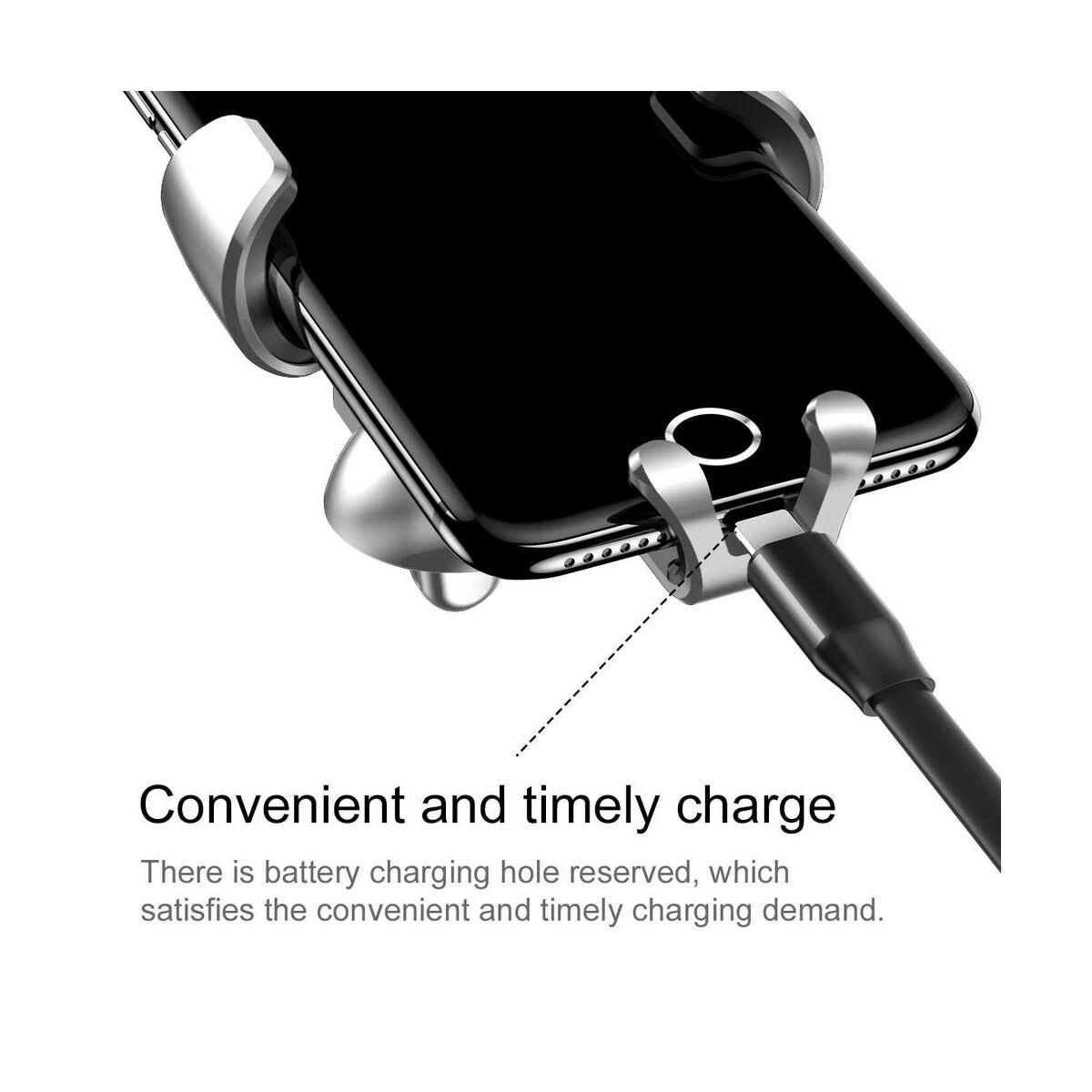 Baseus autós telefon tartó, Gravity (Fém), szellőzőrácsra, ezüst (SUYL-B0S)