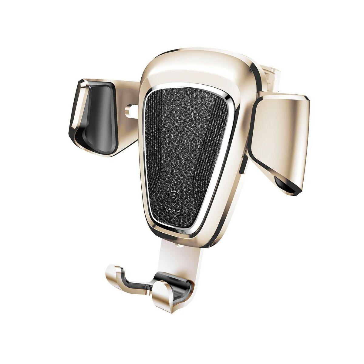 Baseus autós telefontartó, Gravity (Fém), szellőzőrácsra, arany (SUYL-B0V)