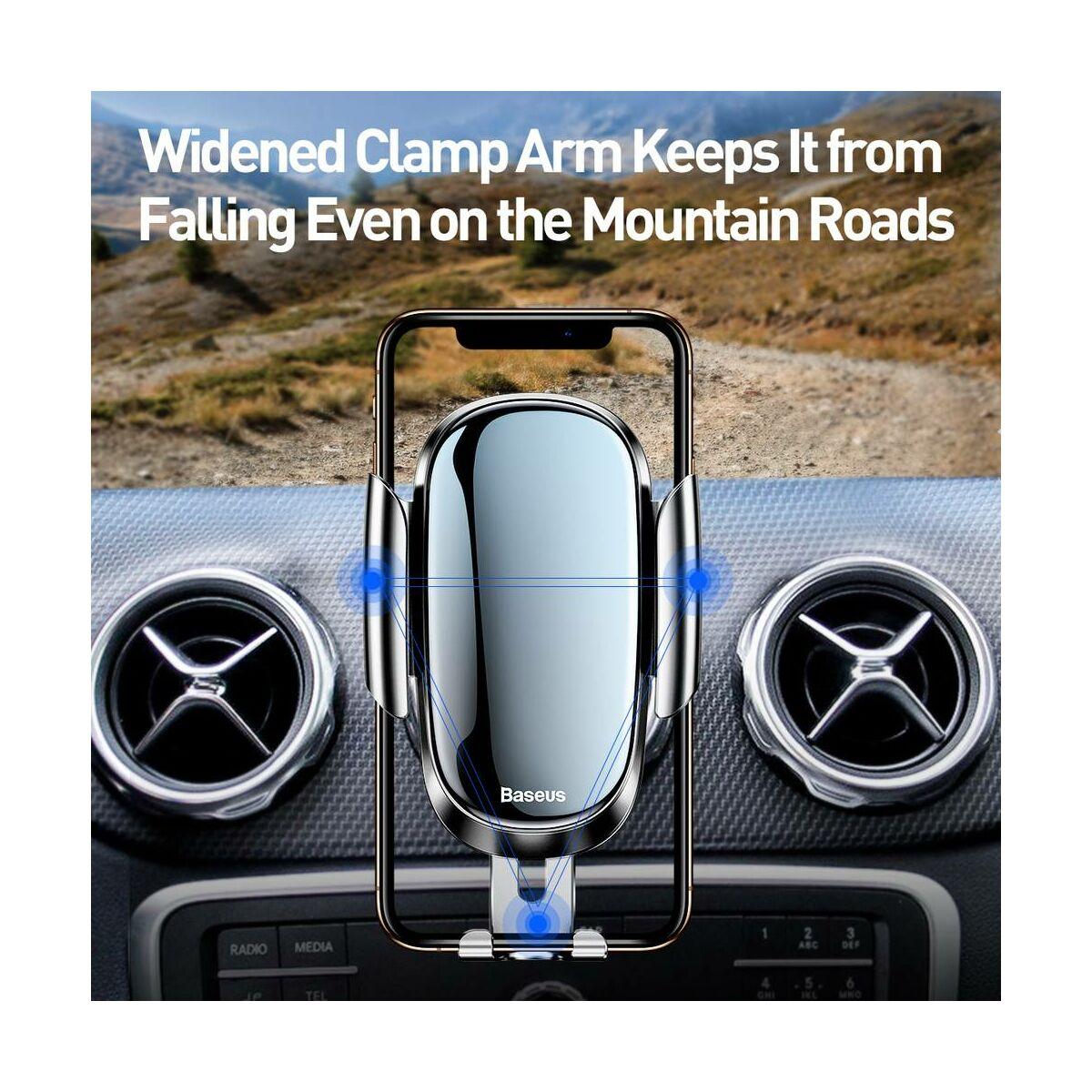 Baseus autós telefontartó, Future Gravity (kerek szellőzőrácsra szerelhető), ezüst (SUYL-BWL0S)