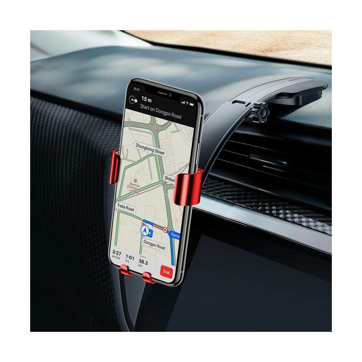 Baseus autós telefon tartó, Metal Age Gravity műszerfalra, piros (SUYL-F09)
