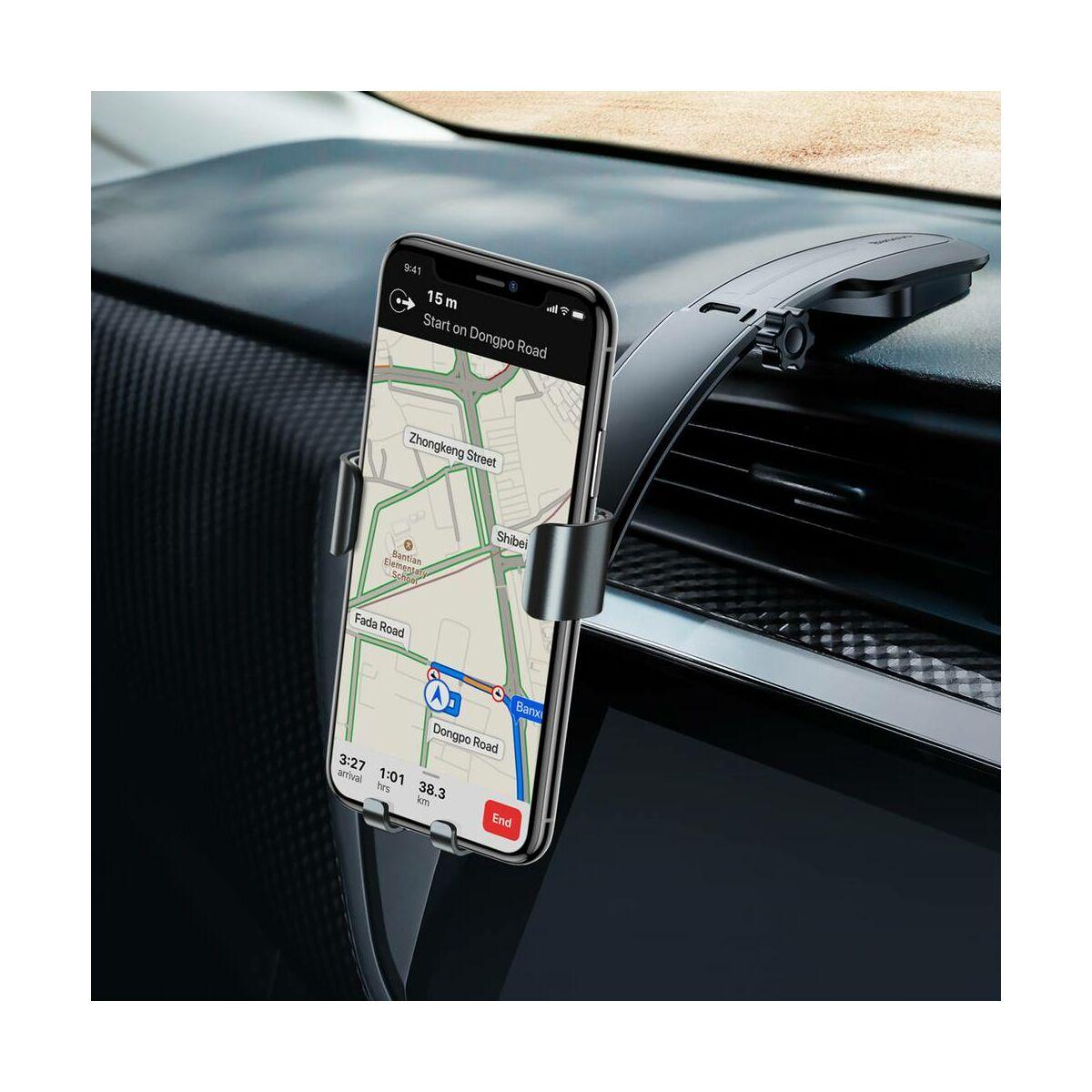 Baseus autós telefon tartó, Metal Age Gravity műszerfalra, sötét szürke (SUYL-F0G)