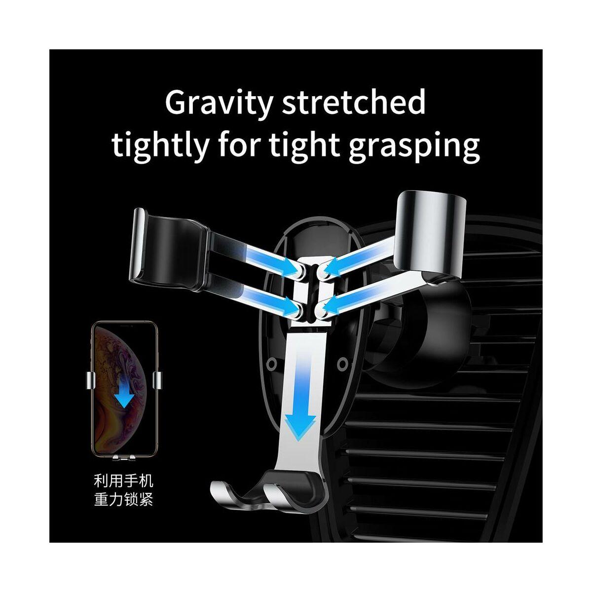 Baseus autós telefon tartó, Mini Gravity, szellőzőrácsra, fekete (SUYL-G01)