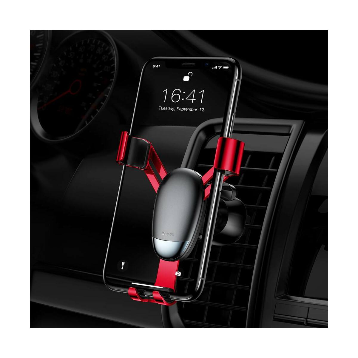 Baseus autós telefontartó, Mini gravity holder, piros (SUYL-G09)