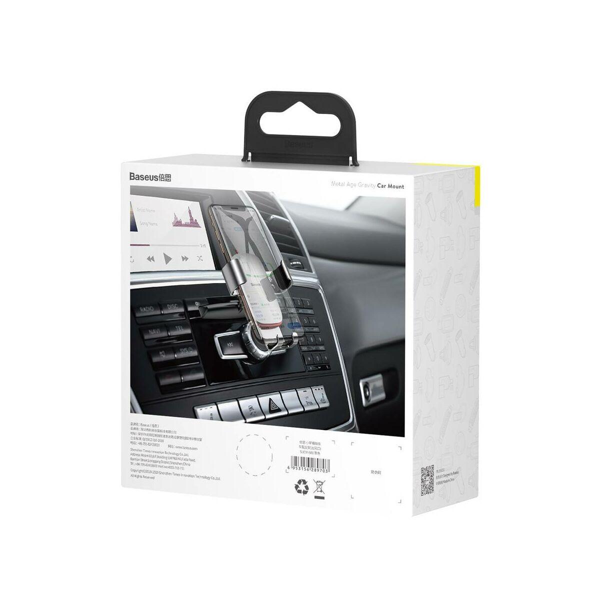 Baseus autós telefontartó, Metal Age Gravity (CD lejátszóba helyezhető), fekete (SUYL-J01)