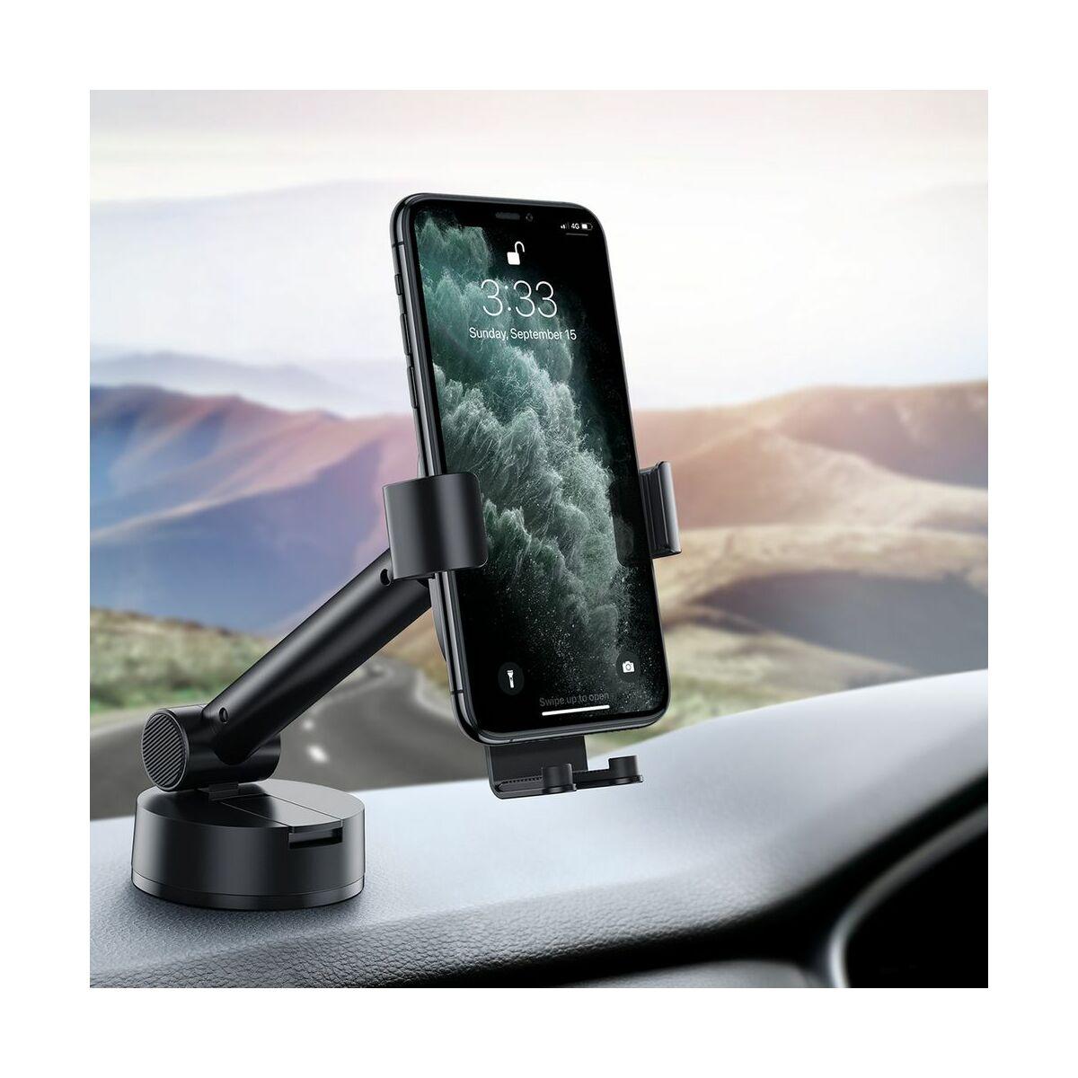 Baseus autós telefon tartó, Simplism Gravity, műszerfalra vagy szélvédőre helyezhető, fekete (SUYL-JY01)