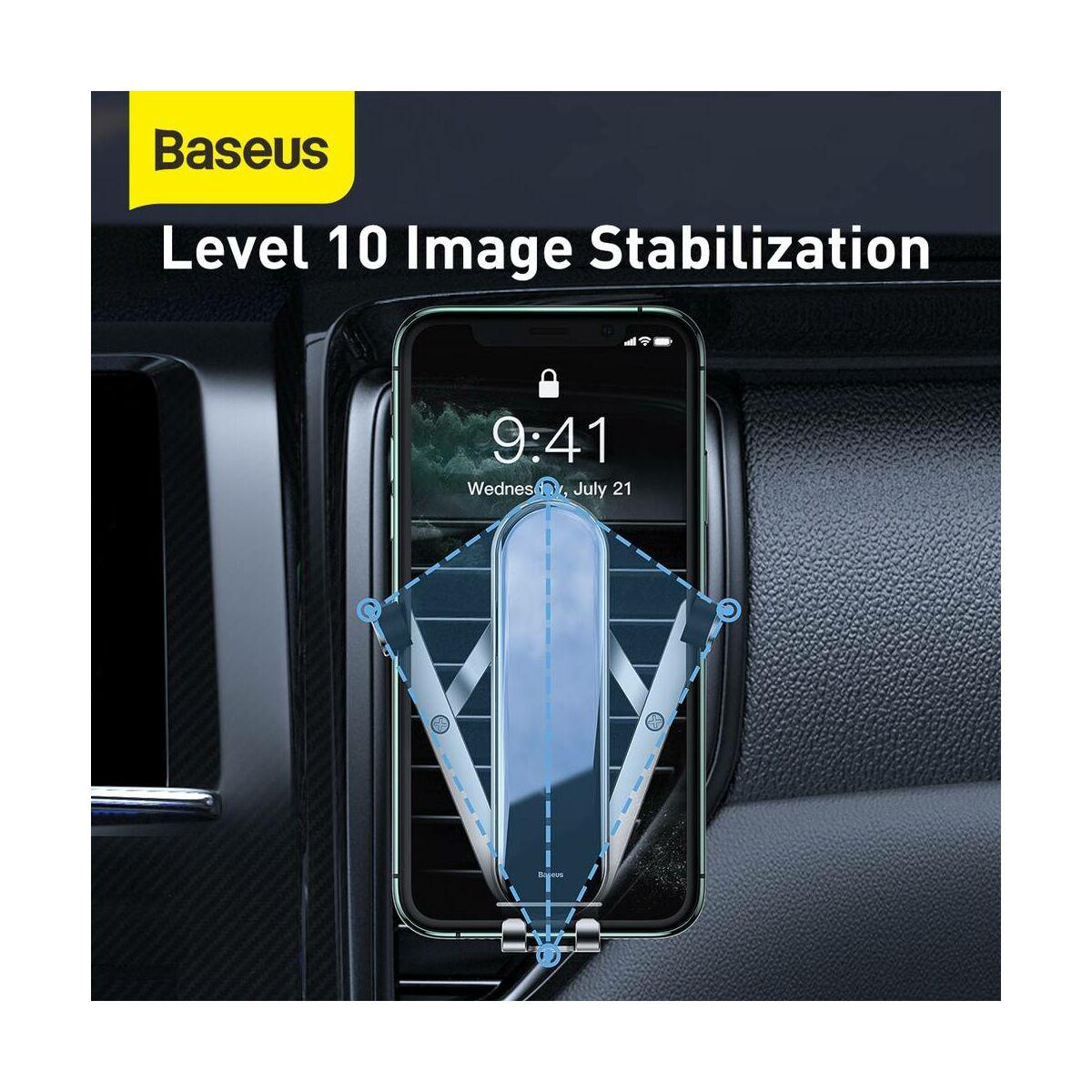 Baseus autós telefontartó, Penguin Gravity, szellőzőrácsra, ezüst (SUYL-QE0S)