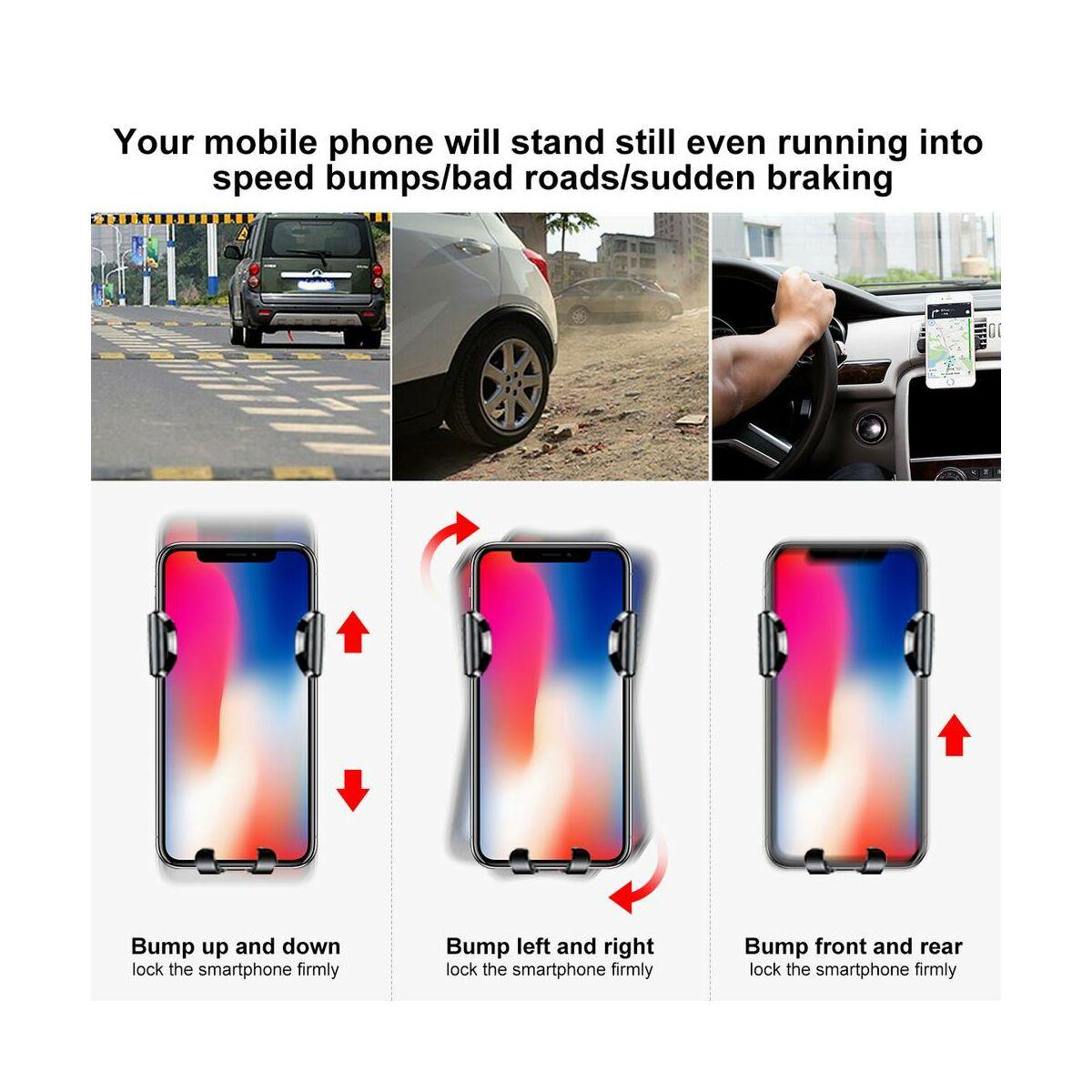 Baseus autós telefontartó, Osculum Type Gravity,műszerfalra, fekete/piros(SUYL-XP09)