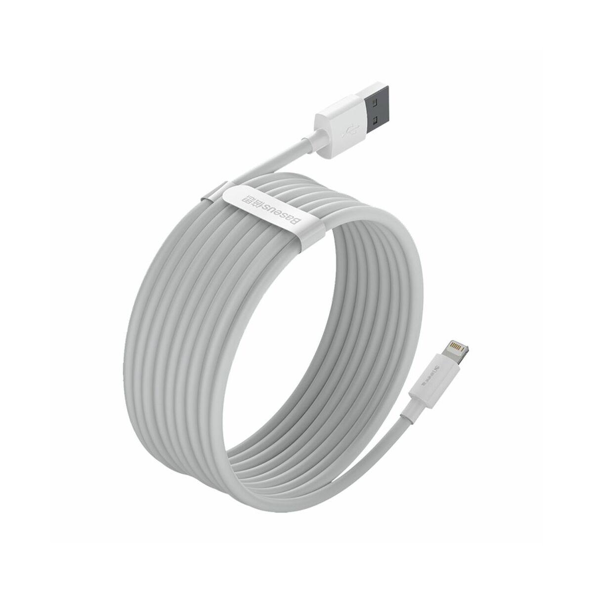 Baseus, Lightning kábel, Simple Wisdom, (2db/ csomag) 2,4A, 1.5m, fehér (TZCALZJ-02)
