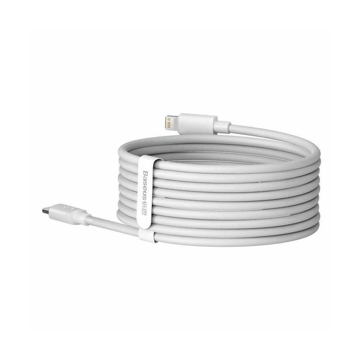 Baseus, Lightning kábel, Simple Wisdom, (2db/ csomag) Pd 20W, 5A, 1.5m, fehér (TZCATLZJ-02)