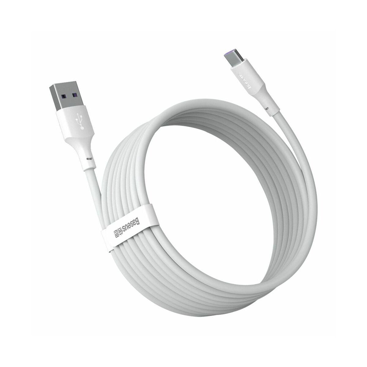 Baseus, Type-C kábel, Simple Wisdom, (2db/ csomag) 5A, 1.5m, fehér (TZCATZJ-02)