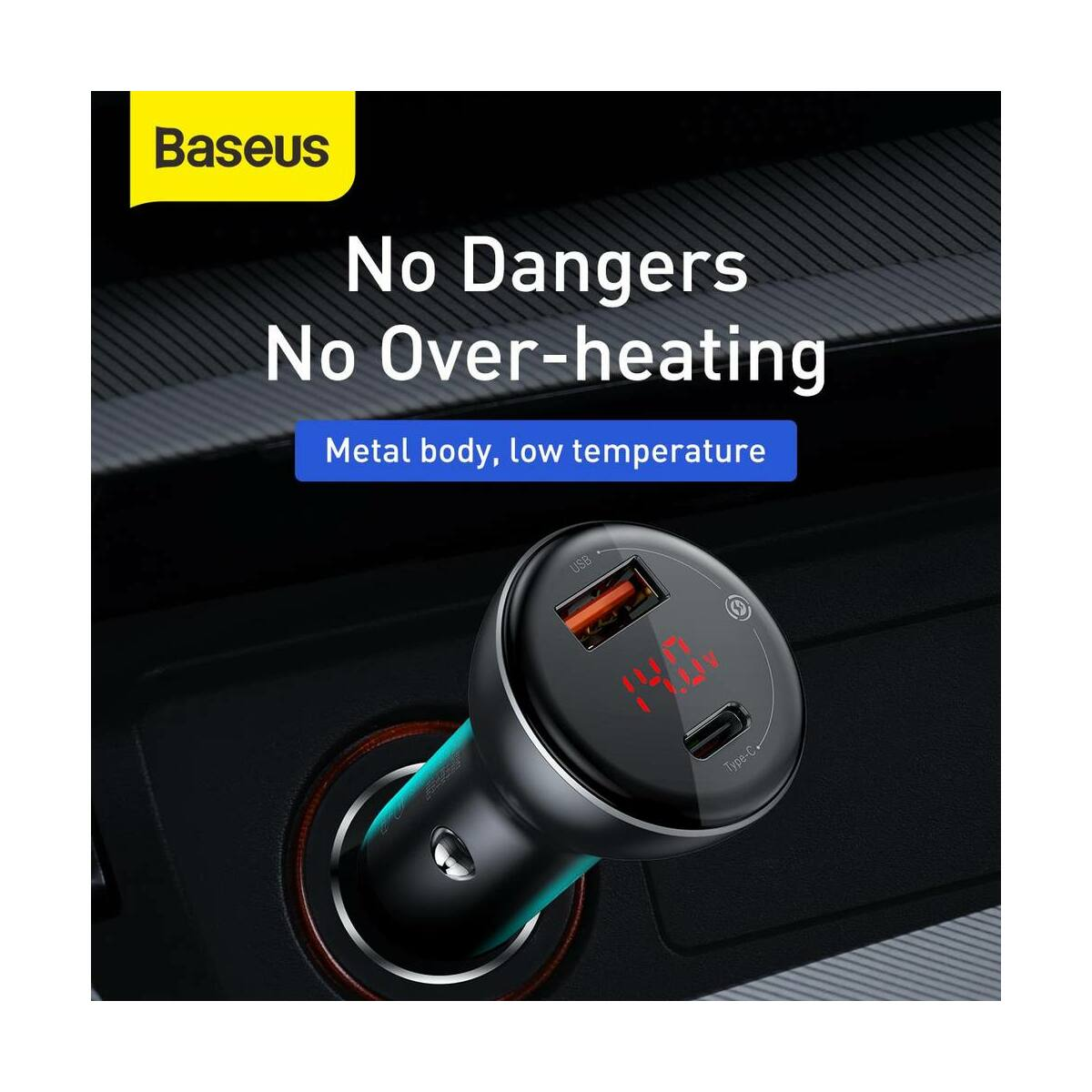 Baseus autós töltő szett, Digitális kijelző, PPS QC 3.0 2xUSB kimenet (mini kábel C+C, 3A, 1m) 45W, fekete (TZCCBX-C0G)