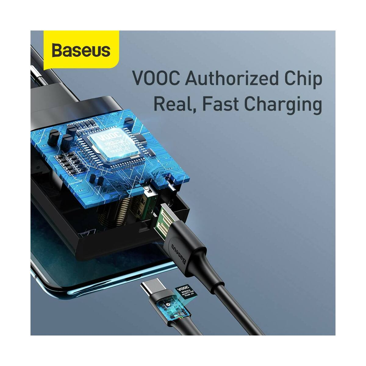 Baseus hálózati töltő, Speed PPS QC3.0, C+A VOOC(5V/4A) + kábel (U+C kábel 5A, 1m), 30W, fekete (TZCCFS-H01)