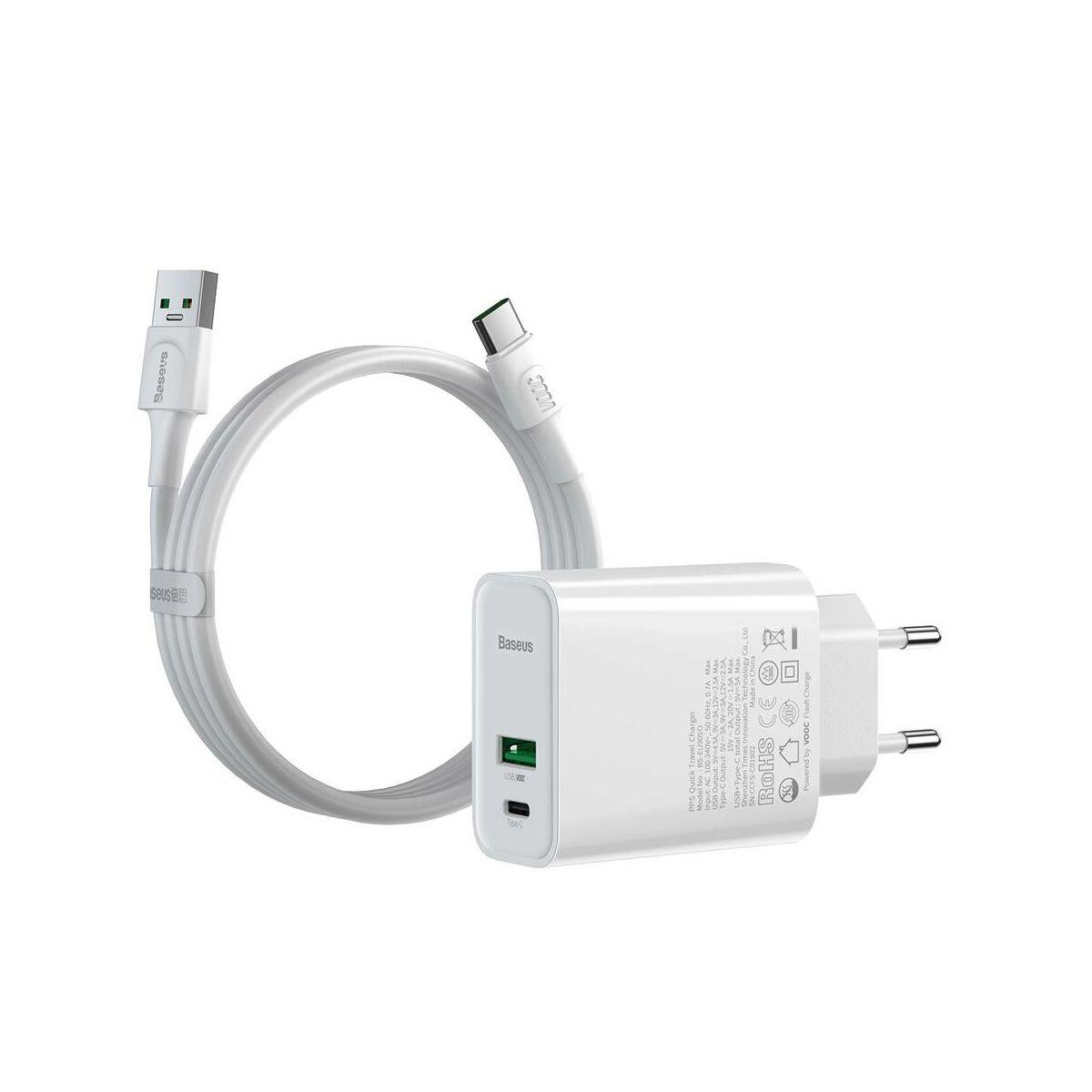 Baseus hálózati töltő, Speed PPS QC3.0, C+A VOOC(5V/4A) + kábel (U+C kábel 5A, 1m), 30W, fehér (TZCCFS-H02)