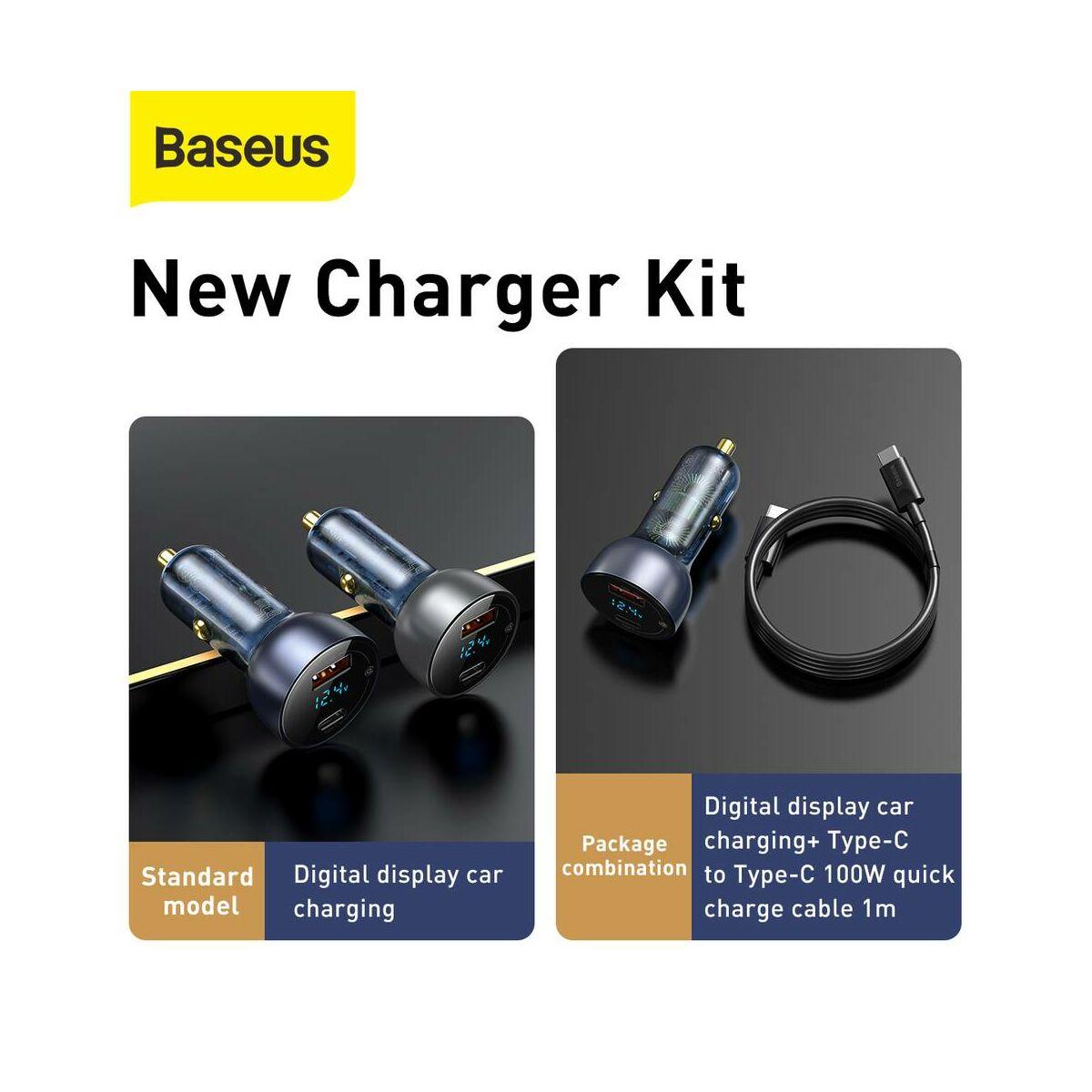 Baseus autós töltő szett, Digitális kijelző, PPS QC 3.0 U+C kimenet (60W C+C kábel, 1m) 45W, fekete (TZCCKX-0G)
