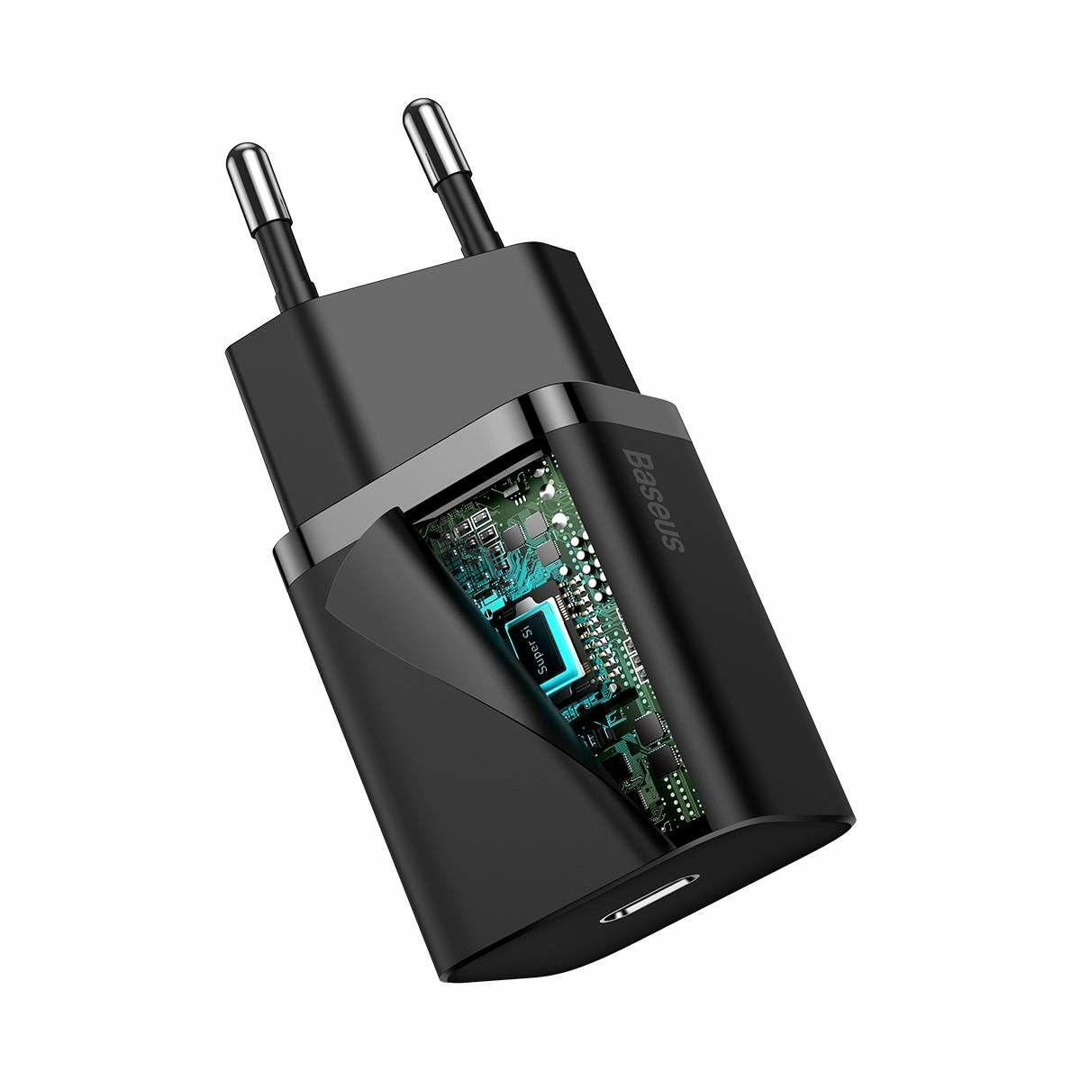 Baseus hálózati töltő szett, Super Si 1C QC, Type-C – Lightning kábellel 1m, 20W, fekete (TZCCSUP-B01)
