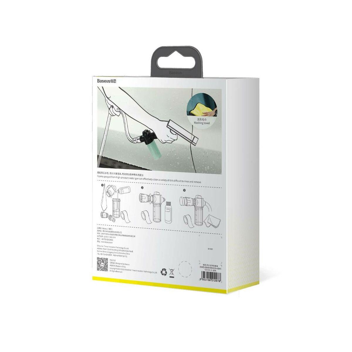 Baseus autós kiegészítő, Simple Life autó mosó szett (habosító edény, Sampon, törlő kendő, ragasztószalag), fekete (TZCRXC-01)