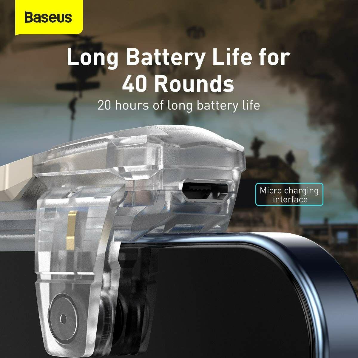 Baseus játék eszköz, GAMO Automatic combo button szett, vezérlő mobil játékhoz (GA09-bal - GA10-jobb), átlátszó (TZGA10-02B)