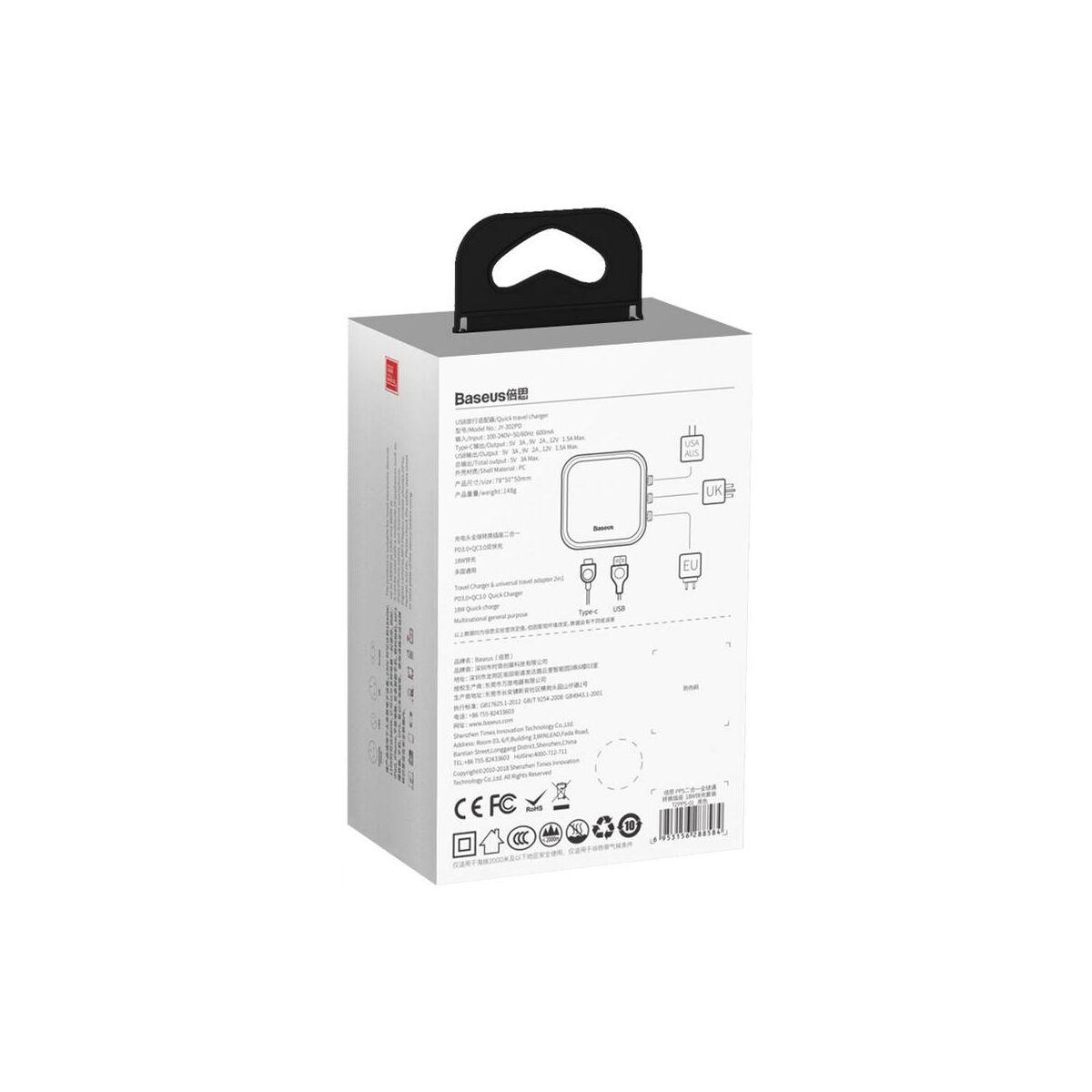 Baseus hálózati töltő, 2-in-1 Univerzális adapter PPS gyors töltés, max 18W, 3A, fekete (TZPPS-01)